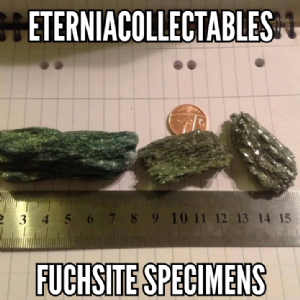 FUCHSITE natural gemstone mineral specimen in display case  LC-24